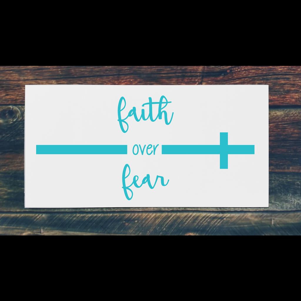 """Faith over fear"""" with cross on 24x12 board"""
